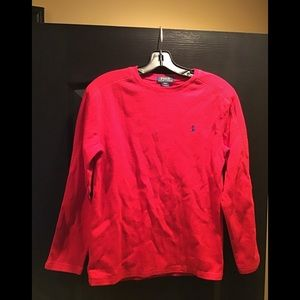 Boys Red Waffle Knit Polo Shirt